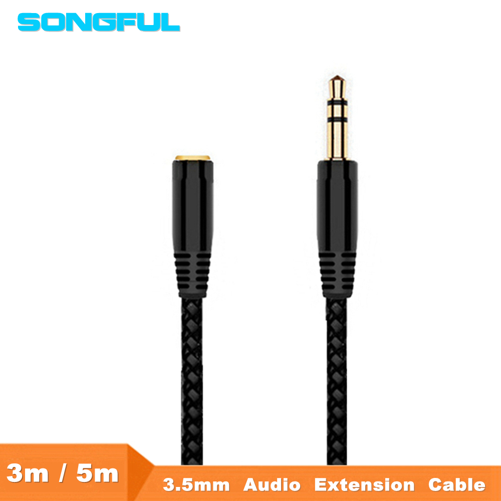 5m/3m Male To Female 3.5mm AUX Jack Audio Extension Cable Cord 3.5 Auxiliary Headphone Earphone Speaker Stereo Audio Cables Cord