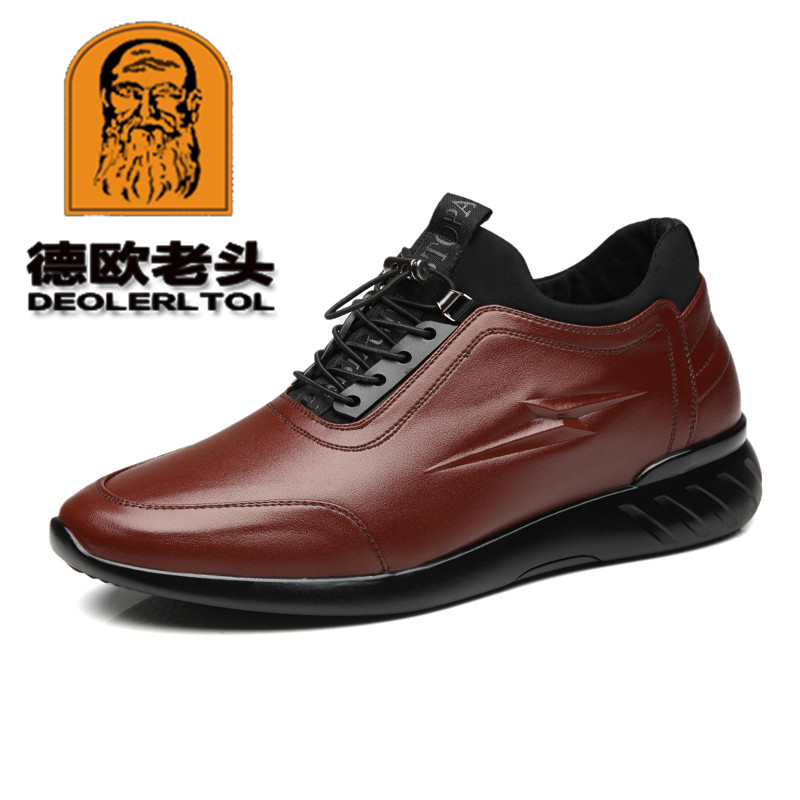 2019 6cm Height Increasing Men's Cow Leather Shoes Fashion British Casual Leather Shoes New Autumn Man Genuine Leather Shoes