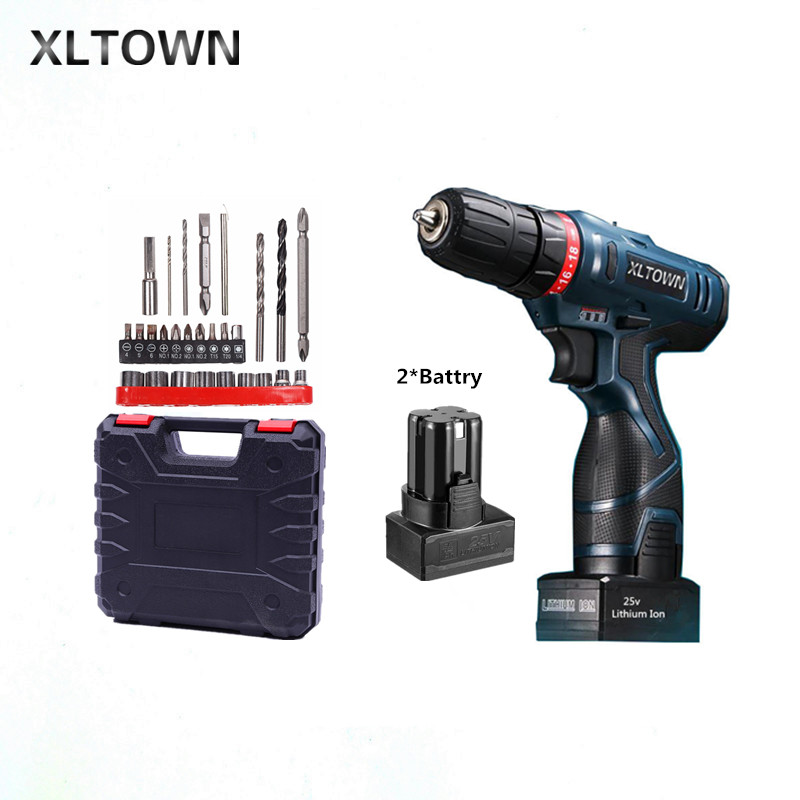 Xltown 25v two-speed 2*battery lithium battery electric screwdriver with a Plastic box packaging 27pcs drill bit electric drill xltown 25v two speed 2 battery lithium battery electric screwdriver with a plastic box packaging 27pcs drill bit electric drill