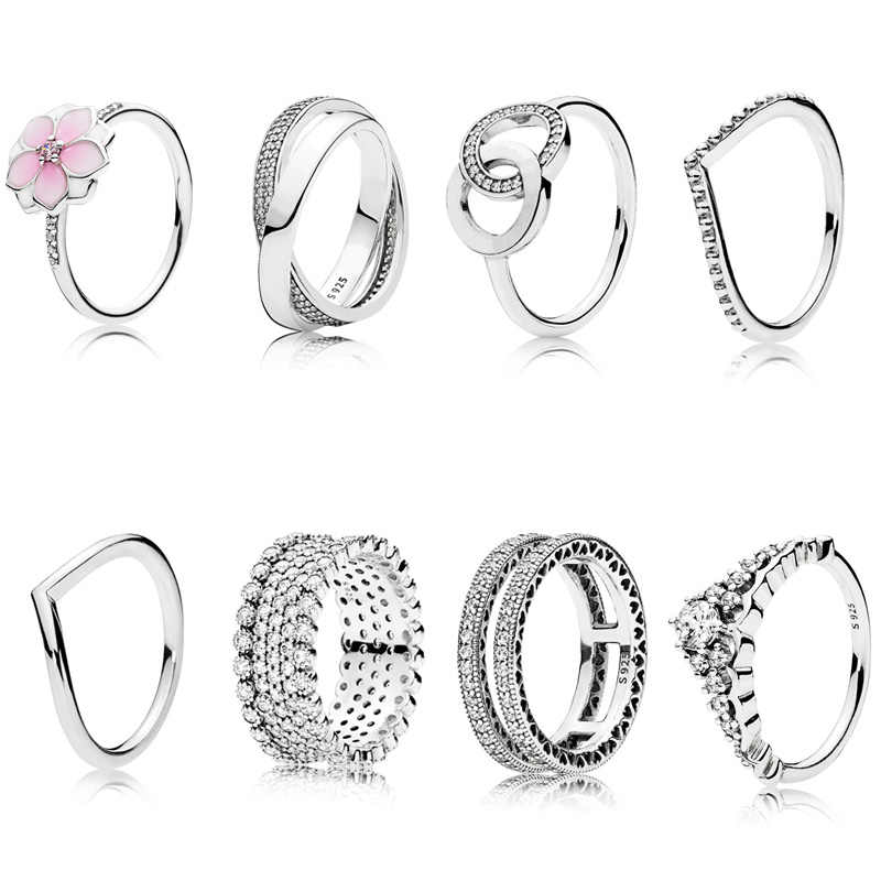 8 Style 1 Pcs Women 925 Sterling Silver Rings Jewelry Magnolia Flower Crown Double Circle Style Ring For Women Jewelry