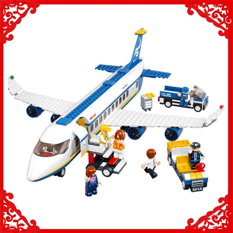 SLUBAN B0366 City Town Passenger Airplane Plane Building Block Compatible Legoe 463Pcs DIY   Toys For Children sluban 0338 cargo truck vehicle building block 345pcs diy educational toys for children compatible legoe