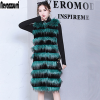 Nerazzurri Winter faux fur vest women long black and green striped fake fox fur gielt ladies plus size waistcoat 5xl 6xl 7xl