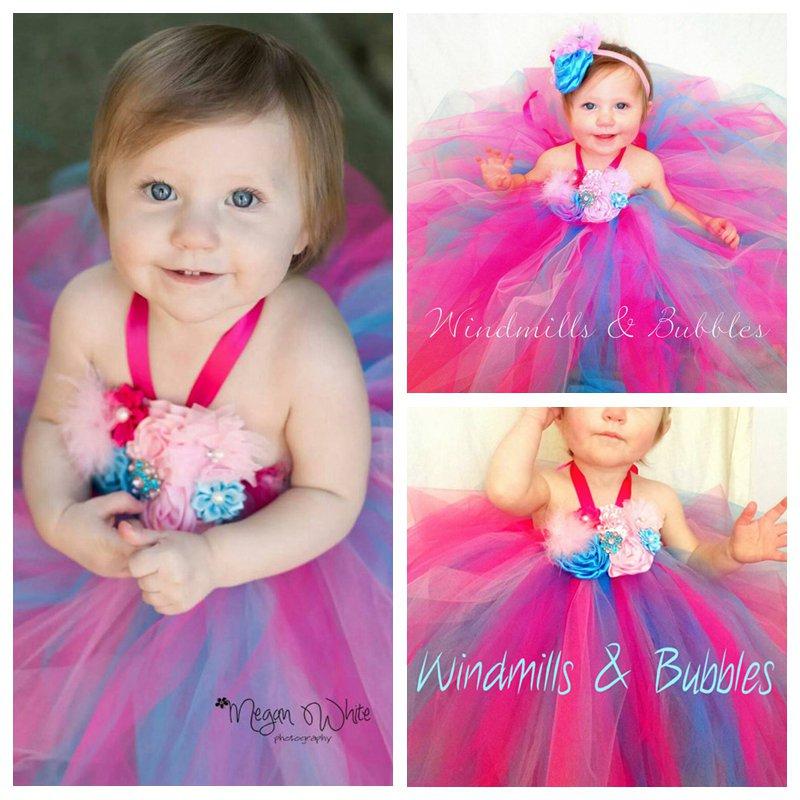 Bébé Filles Tutu Fleur Robe Mignon Floral Toddle Nouveau-Né Fleur Filles robe de Bal Robe Pour L'anniversaire/Partie Pour 0-2 T