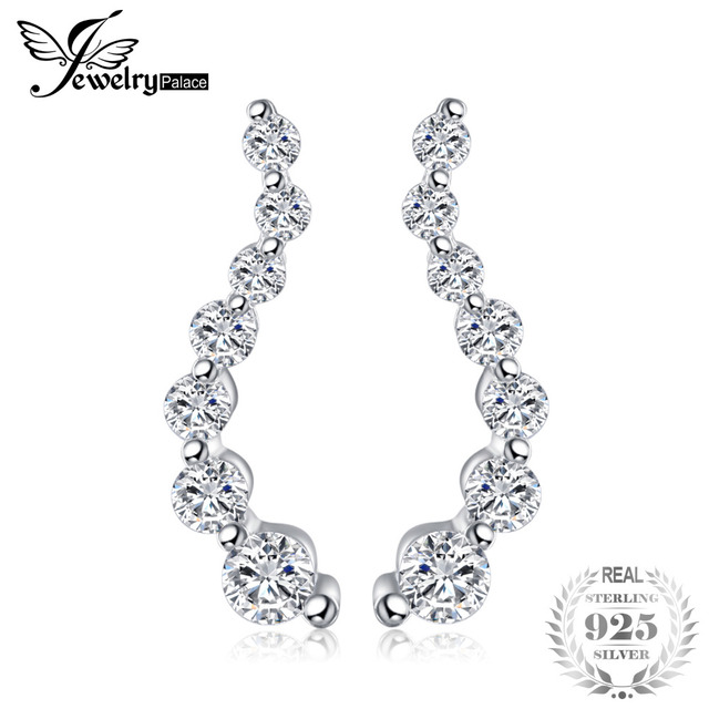 JewelryPalace Curved Cubic Zirconia Studs Earrings Real 925 Sterling Silver Char