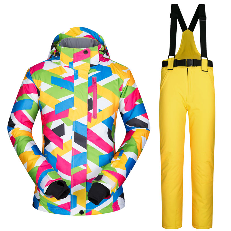 Colorfull Printed Snow winter ski jacket snowboard suit waterproof women snow jacket pants set Russian -30 Degree Keep Warm printed jacket and pocket design pants twinset