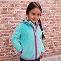2017 Outono Inverno das Crianças de Comércio exterior Polar Fleece Casuais Com Capuz Casaco Meninas Jaqueta de Lazer Com Capuz Outerwear Criança Cardigan G881
