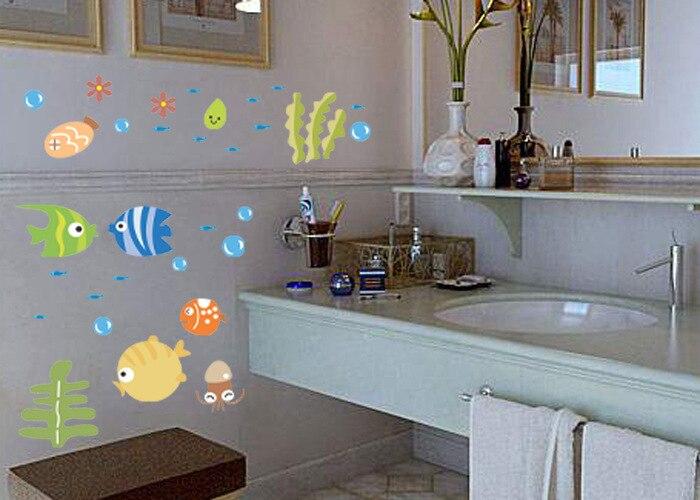 fish DIY 3D del Gato extra/íble Aseo Cartel Pegatinas Kids Room Decor Nursery Decal Sticker Fondo de Pantalla