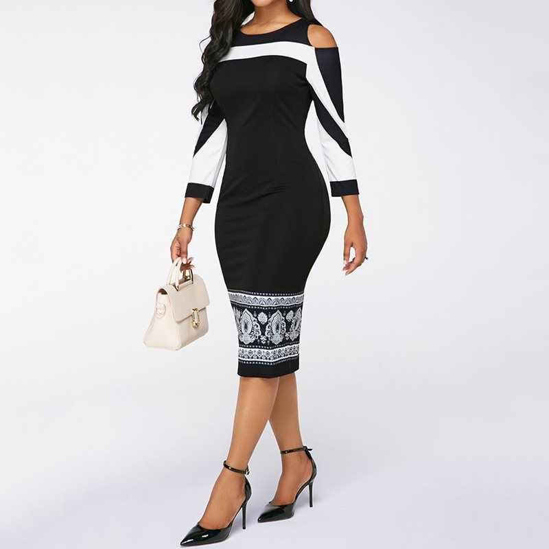 Sisjuly Осень Плюс Размер Сексуальный Bodycon Платье Женщины Черный Офис Элегантный С Плеча Стильный Принт Винтажный Синий Ну Вечеринку Свободного Покроя Миди Платья