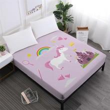 Girls Lovely Unicorn Bed Sheets Colorful Rainbow Print Fitted Sheet Kids Cartoon Sheets Deep Pocket Mattress