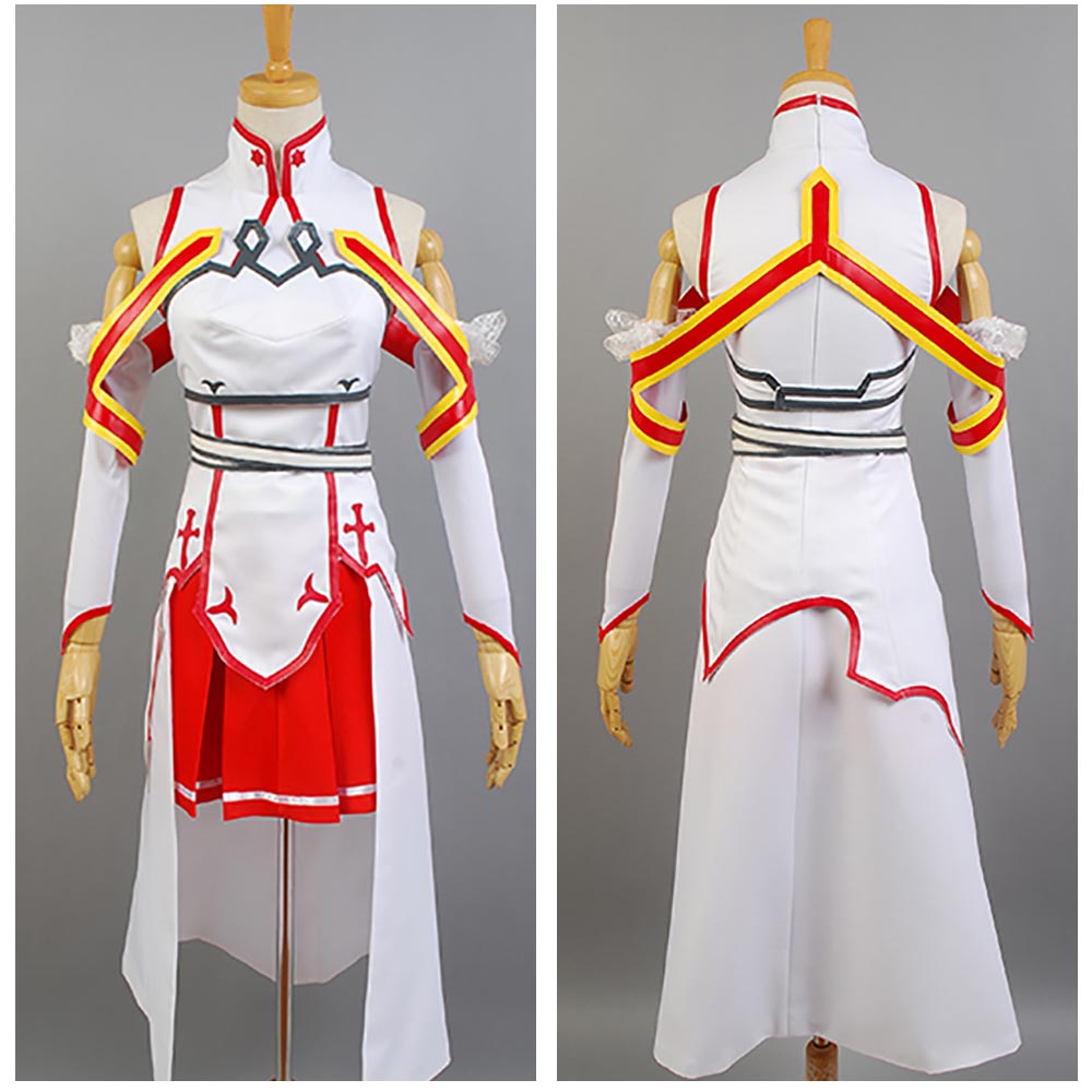 Sword Art Online SAO Asuna Yuuki Gown Cosplay Costume Dress Outfit Suit Full Sets