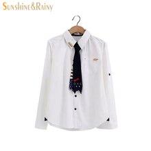2016 новая мода весна осень женщины кот вышивка рубашки с галстуком бизнес рубашки для женщин роскошные детский рубашки для женщин