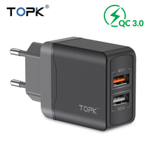TOPK Quick Charge 3.0 18W QC 3.0 Dual USB Charger Adapter EU Plug Travel Wall Mobile Phone Charger for iPhone Samsung Xiaomi