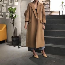 New 2018 Autumn And Winter New Fashion Loose Casual Solid Color Long Woolen Coat Turn-Down Collar Korean Style Woolen Coat