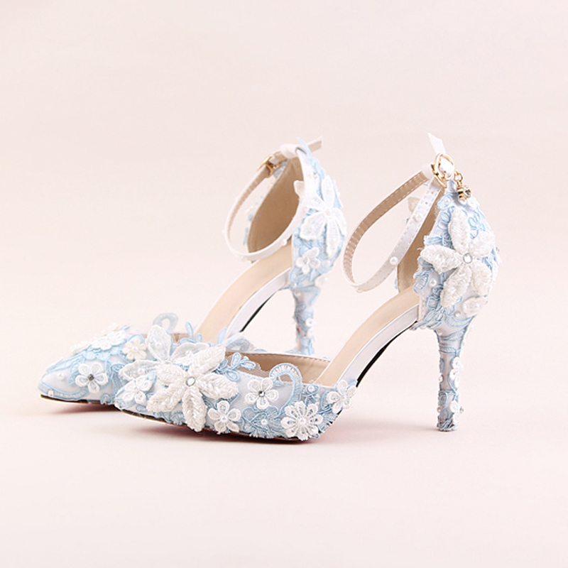 Blue lace flower bride shoes white pearl diamond wedding shoes with ultra fine pointed high-heeled sandals dress shoes 2017 fashion flowers diamond pendant bride shoes high with fine with photography single shoes for women s shoes wedding shoes