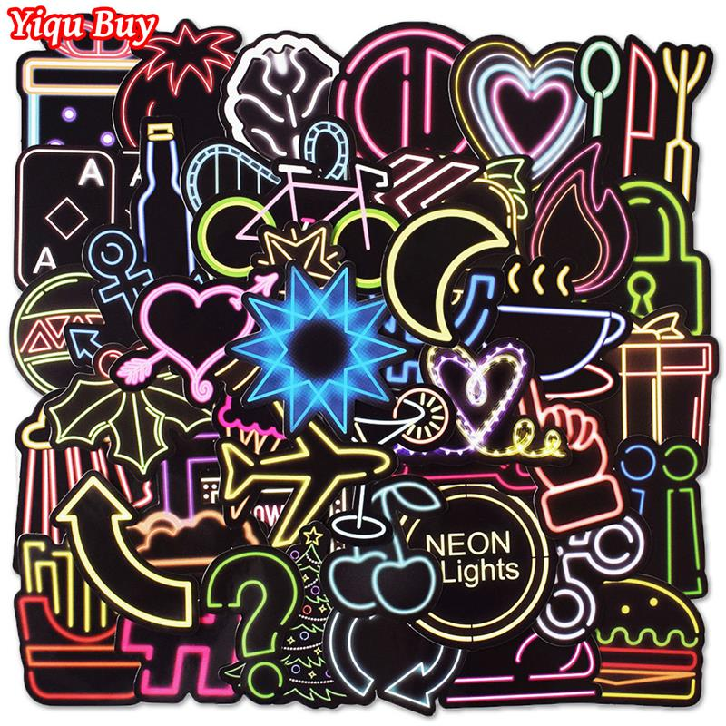 50 Pcs Neon Light Cute Sticker For Skateboard Laptop Bicycle Car Styling Luggage Fridge Vinyl Decal PVC DIY Waterproof Stickers
