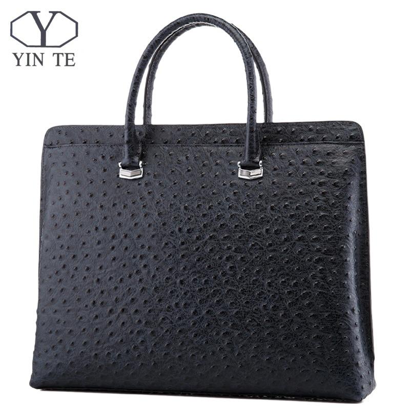 YINTE Fashion Men Briefcase Genuine Cow Leather Messenger Bags Business Men Handbags Men Totes Casual Male Bag Portfolio T8650-5