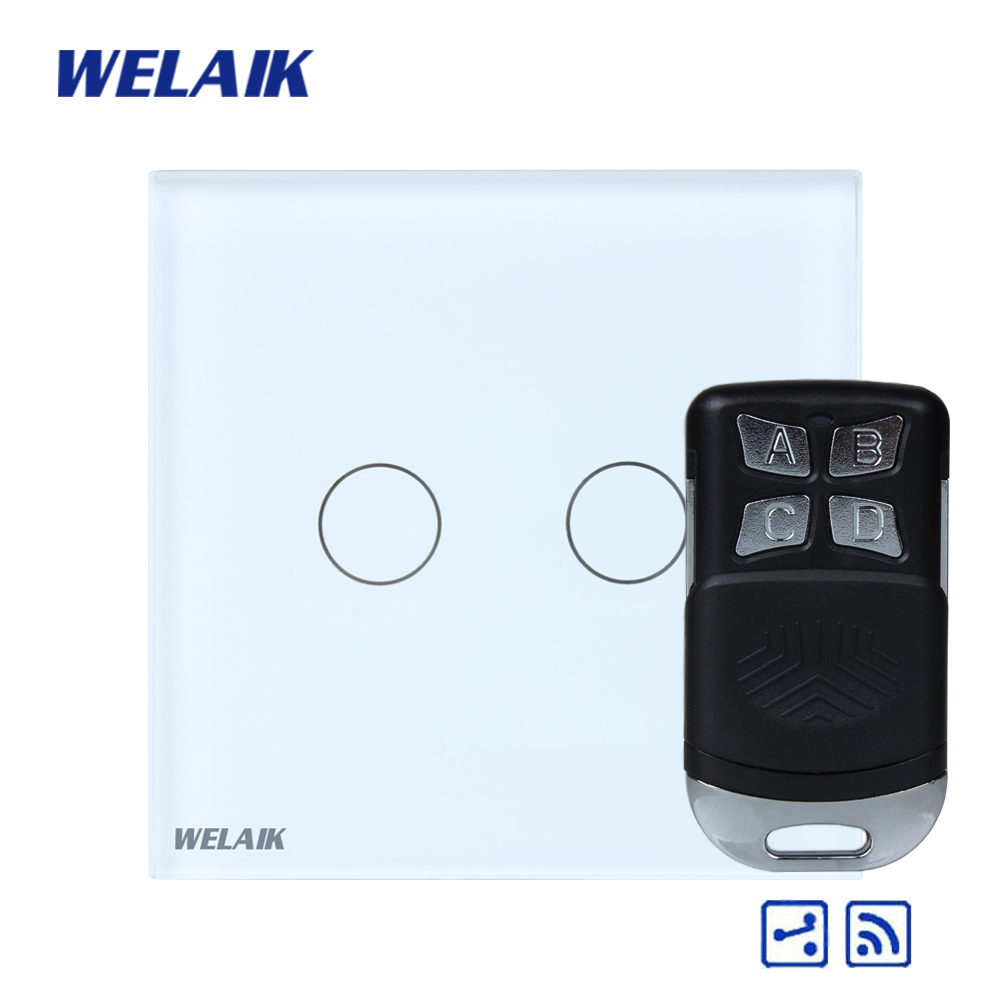 WELAIK Glass Panel Switch White Wall Switch EU remote control Touch Switch  Light Switch 2gang2way AC110~250V A1924CW/BR01 wall light touch switch 2 gang 2 way wireless remote control touch switch power for light crystal glass panel wall switch