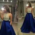 Azul real del Satén Vestidos de Baile Una Línea Cabestro Top Listones vestidos de gala largos vestidos formales elegantes para las mujeres