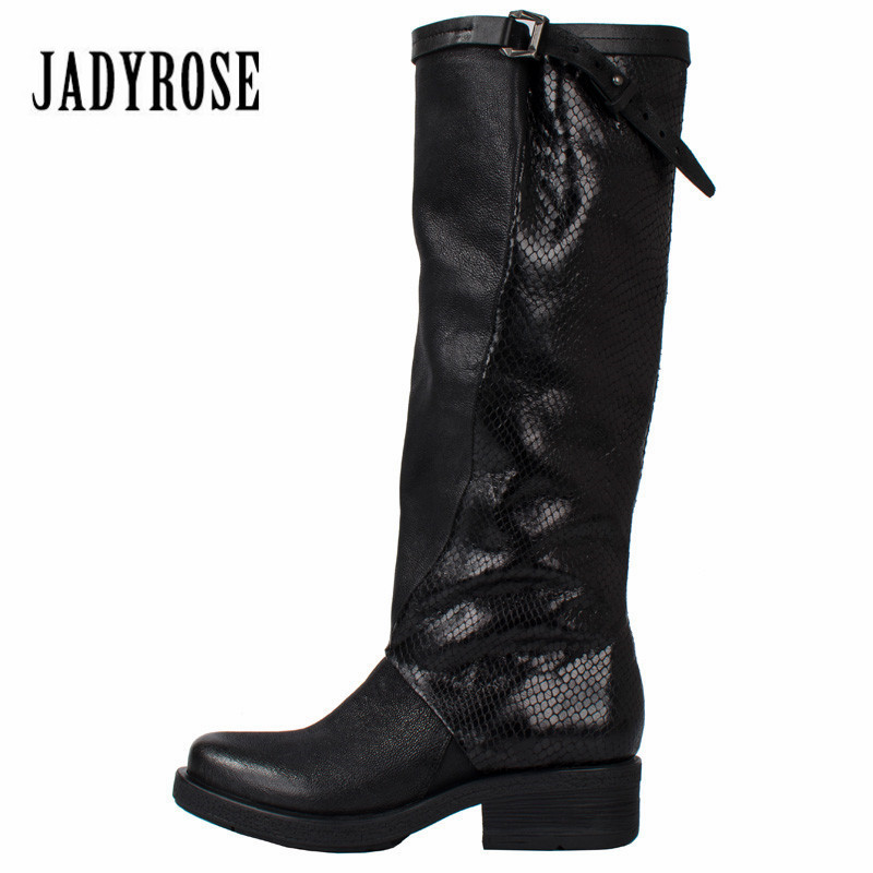 Jady Rose Patchwork Women Knee High Boots Genuine Leather Comfortable Flat Rubber Shoes Woman Platform High Botas Mujer jady rose handmade women genuine leather boot vintage straps buckle martin boots women mid calf rubber shoes woman botas