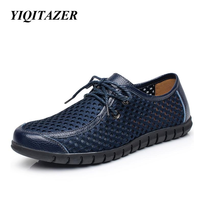 YIQITAZER 2017 Nova modna svjetlo Ljetne cool cipele Muške cipele, Čipkajte prozračne gumene potplate Čipkane Stanovi Man Yellow Blue