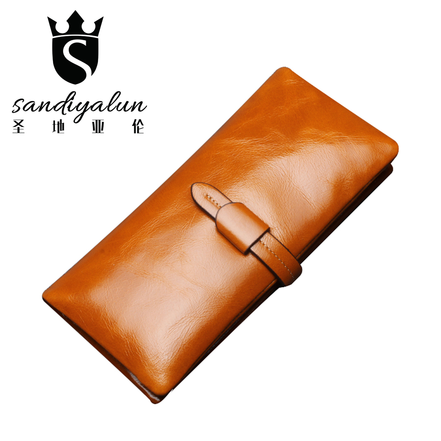 New Oil Wax Cowhide Leather Women Wallet Fashion Pocket Purse Long Wallet Female Card Holder Lady Clutch Carteira Feminina 1pcs 5 75 inch led motorcycle projector daymakers 5 75 inch headlight for harleys dyan h4 hi lo beam lights lamp bulb angle eye