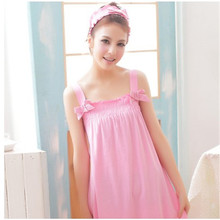 Cute Nightgowns Summer Solid Nightdress Modal Strap Sleepshirts Cotton Sexy Sleepwear