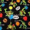105X100cm Black Background Ninja Turtles Pizza Cotton Fabric For Baby Boy Clothes Hometextile Patchwork DIY AFCK407