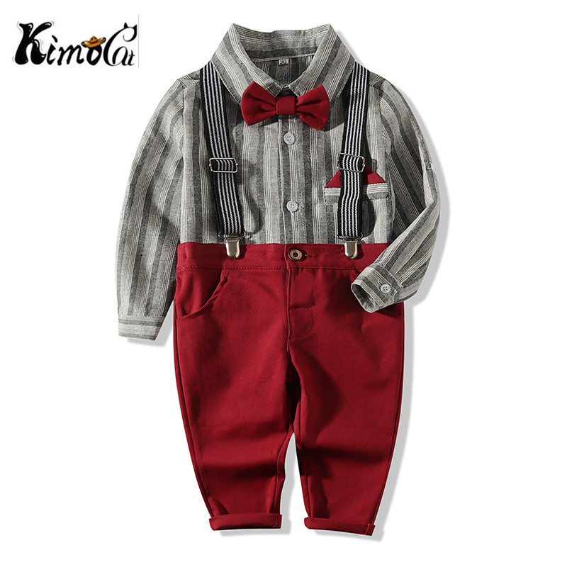 Kimocat Korean Fashion Boy Gentleman Suit Striped Shirt+Bow Tie+Suspender Pants 3Pcs Kid Clothing Formal Clothes Pocket Square Галстук-бабочка