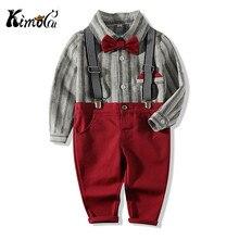 Kimocat coréen mode garçon Gentleman costume rayé chemise + nœud papillon + jarretelle pantalon 3 pièces enfant vêtements formels poche carré