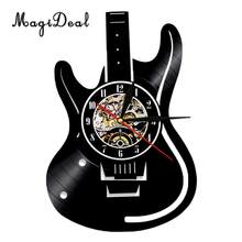CD Vinyl Record Guitar Shaped Wall Clock Battery Operated Quartz Wall Clocks for Home Office Decoration(China)