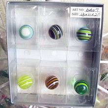 12pcs wholesale striped hand blown glass ball model small sculpture aquarium decoration charm children's game toys