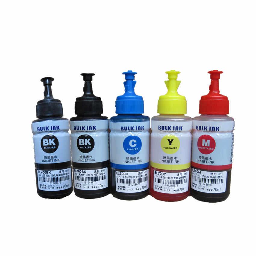 5 x tinta Dye tinta OEM Refill Tinta Kit 70 ml untuk Epson L100 L210 L110 L200 L300 L355 L1300 L220 L130 L120 L310 L365 L455 L550 L565