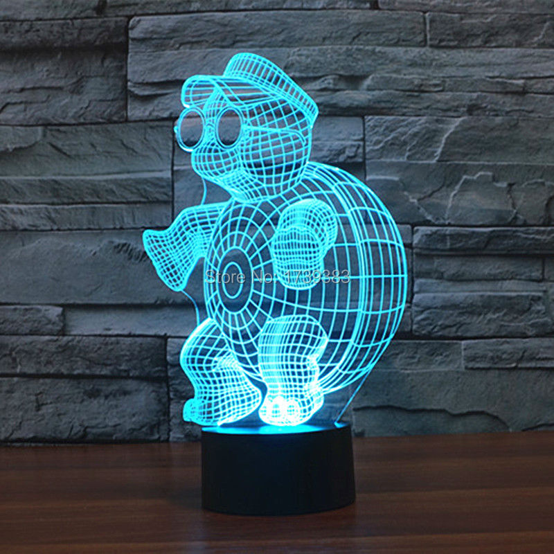 Free Shipping 7 Multi Color Changing Little Tortoise 3D LED Night Light USB LED Decorative Table Lamp Desk Mood Lighting in LED Night Lights from Lights Lighting