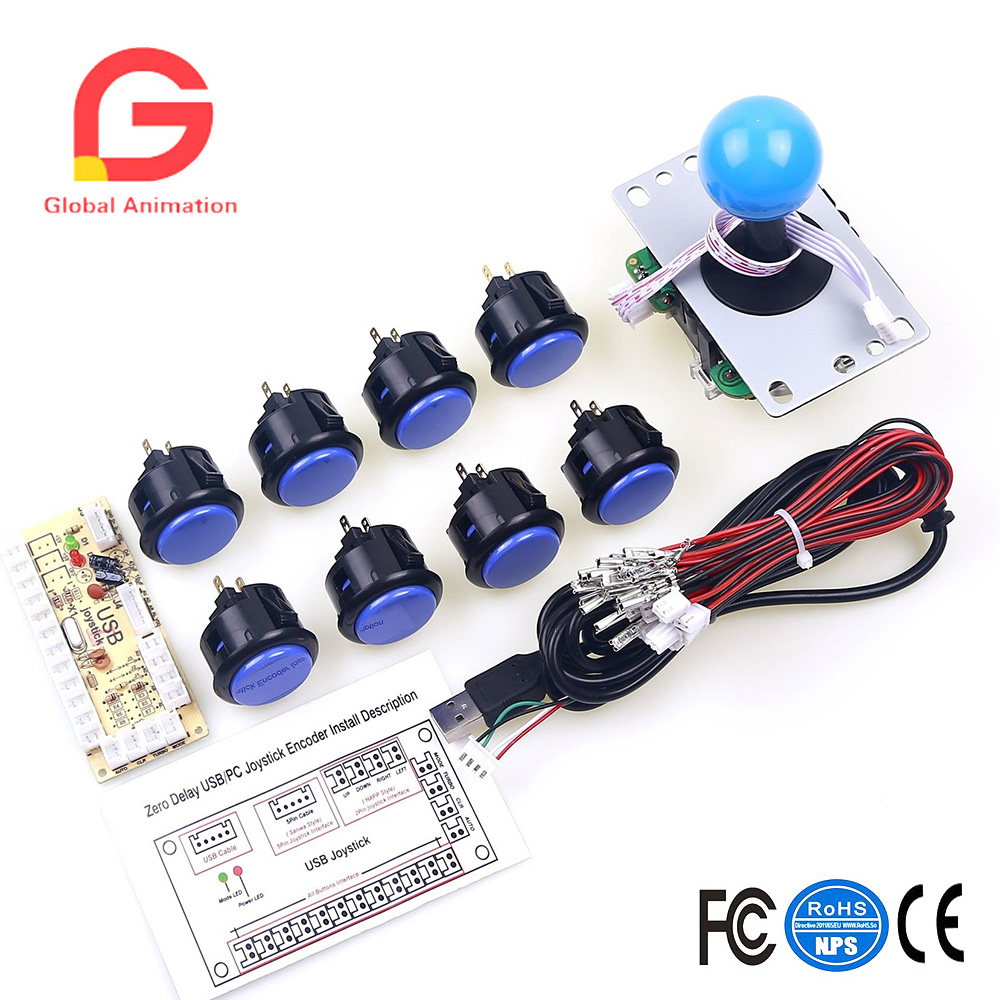 Arcade Game DIY Parts For MAME USB Joystick Cabinet & Arcade Fighting Games (Zero Delay USB PC Encoder + 5Pin 8Way Joystick
