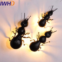 IWHD Insect Iron Wall Light Up Down Style Loft Industrial Vintage Wall Lamp American Retro Bedroom Stairway Lighting Sconce
