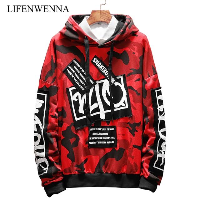 68b7297eda2e New Fashion Camouflage Sweatshirt Men 2019 Autumn Casual Letter Print Hoodies  Mens Clothing Trend Hooded Sweatshirts Men M-5XL