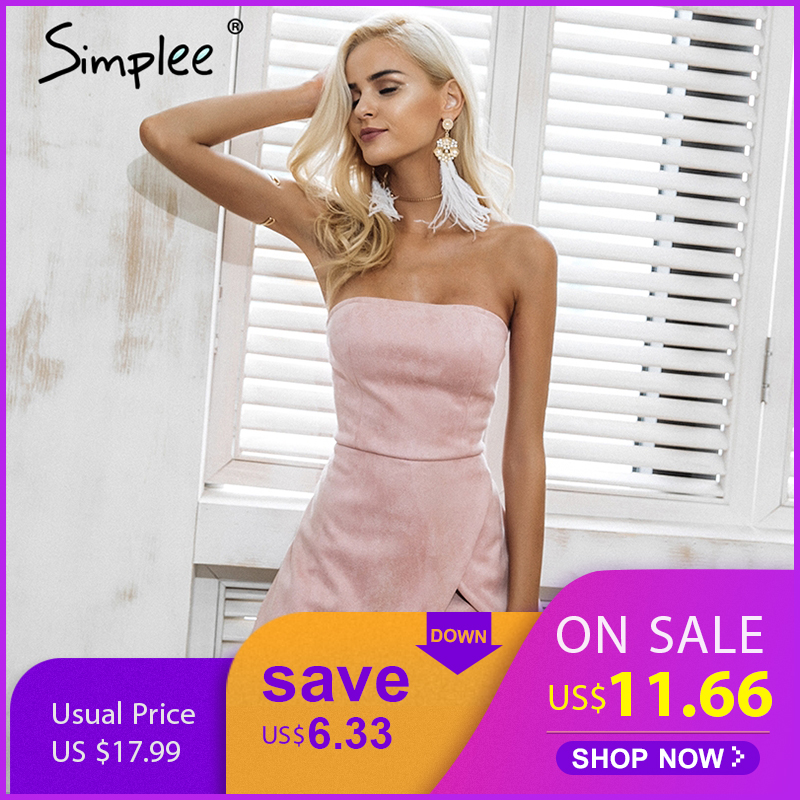 Simplee Strapless leather suede jumpsuit romper Women slim pink winter irregular short playsuit Elegant autumn female overalls