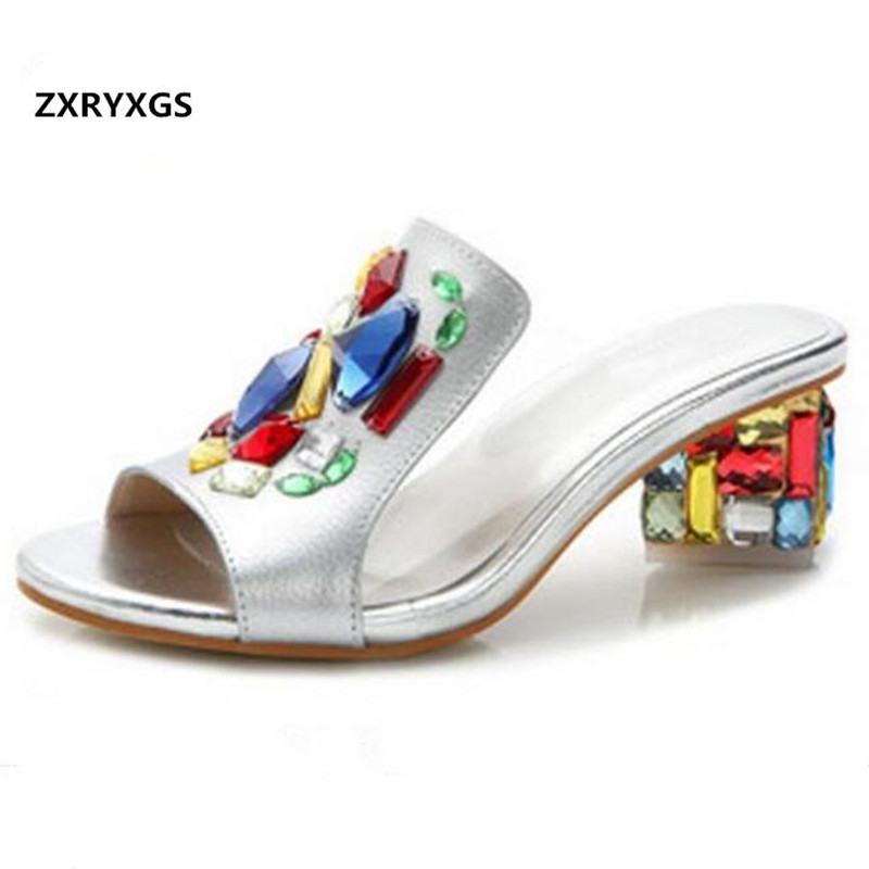 ZXRYXGS women brand sandals slippers 2019 Rhinestone Real leather Shoes Fashion sandals summer slippers Shoes shoes