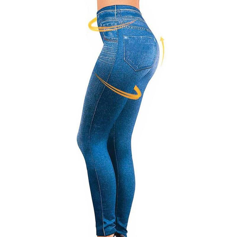 Fleece real pocket seamless imitation denim   leggings   Women Lined Jegging Jeans Genie Slim Fashion Jeggings Women Fitness Pants