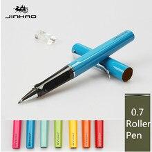 Jinhao rollerball עט יוקרה 599 שש צבע עסקי מתכת כדורי עט טיפ שטוח עט קליפ 0.7mm מילוי שחור יכול אישית לוגו
