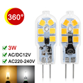 G4 LED Lamp 220V 12V 3W LED G4 Bulb SMD2835 360 Beam Angle Super Bright Transparent Chandelier Light Replace Halogen Lamp