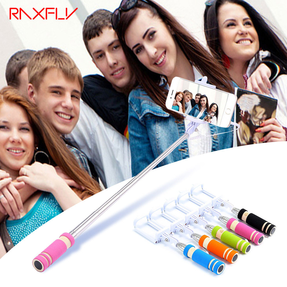 RAXFLY Wired Mini Selfie For IPhone 6s 6 Plus Stick Holder Extendable Monopod Selfie For Samsung Galaxy S9 S8 Note 9 Stick Stand