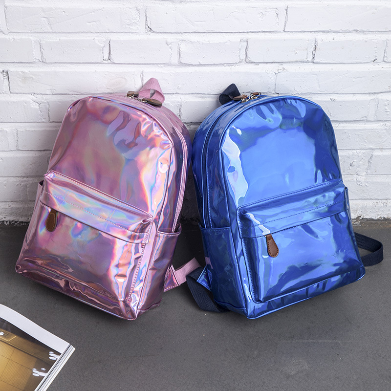 Aireebay Female Holographic Backpack Women Soft Laser Pu Leather Travel Backpacks Silver Hologram School Bags For Teenager Girls #3