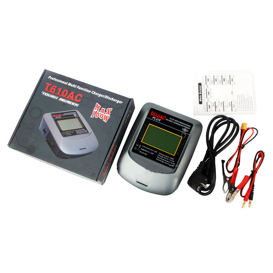 Factory price T610AC PLUS 100W 10A Touch Screen AC/DC LiPo Balance Charger RC Dual High Power for RC Drone Parts ultra power up100ac ac dc plus 100w balance charger