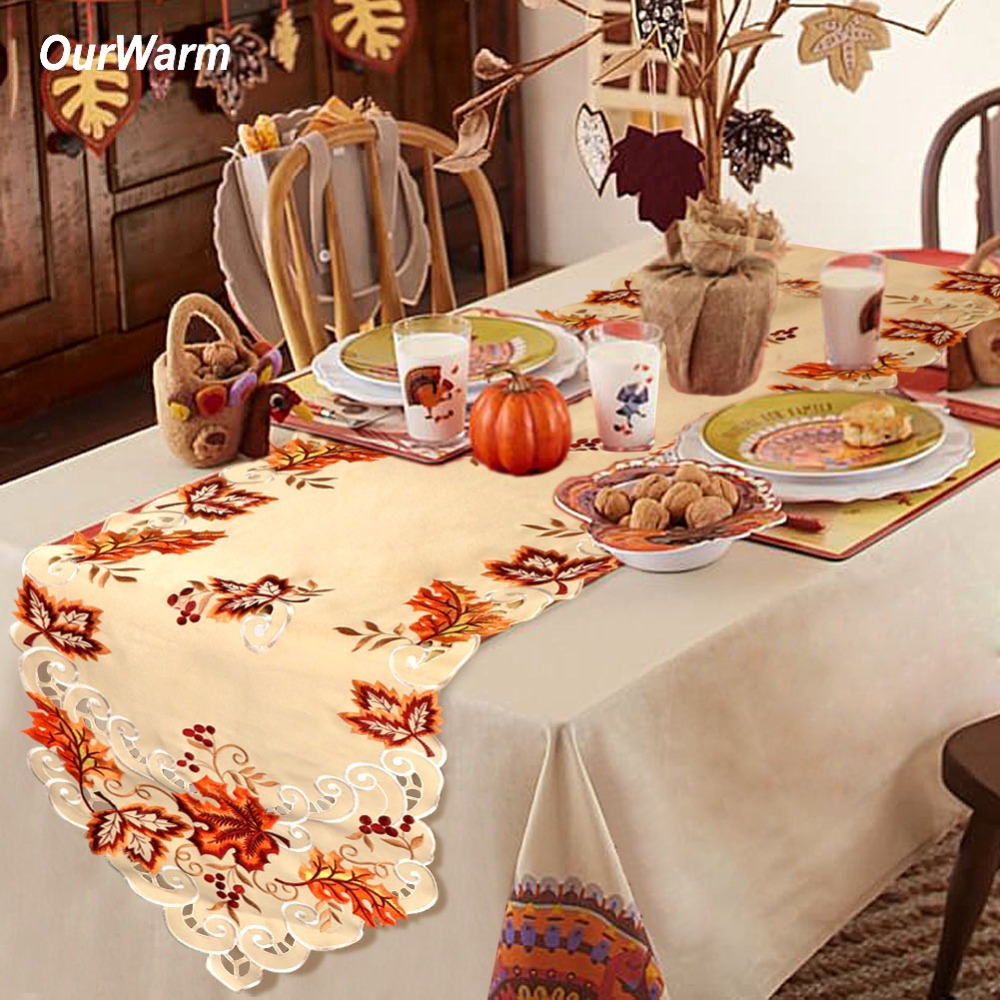 Christmas Table Runner Diy.Us 8 13 43 Off Ourwarm 38x170cm Thanksgiving Maple Leaves Turkey Table Runner Cloth Autumn Thanksgiving Christmas Table Decoration For Home In Party