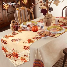 OurWarm 38X170cm Thanksgiving Maple Leaves turkey Table Runner Cloth Autumn Christmas Decoration for Home