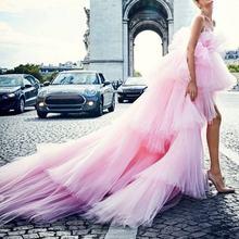 Пышное длинное платье пачка с открытыми плечами розовое многослойное
