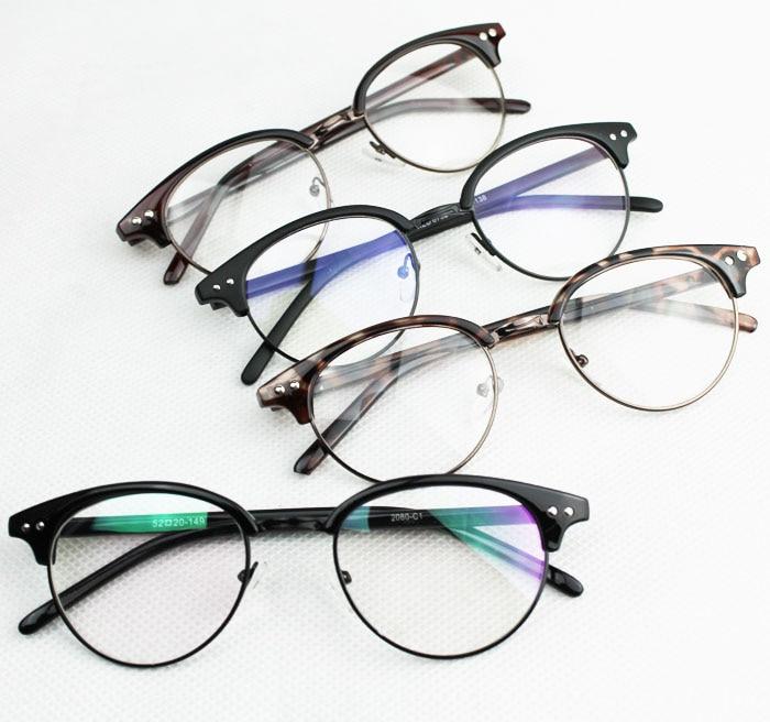 55ddf978218 Hot Sale 2015 Brand Unisex Metal Semi Rimless Men round Glasses Fashion  Women Eyeglasses Frame Clear Lens Eyewear