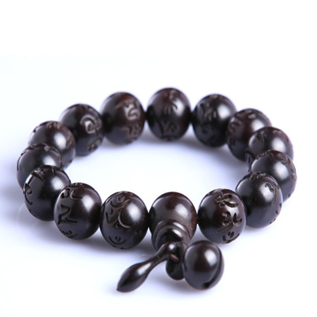 Ubeauty natural hand carved peach wood bead bracelets Tibeten buddha prayer mala rosary Men's Women meditation couple bracelet