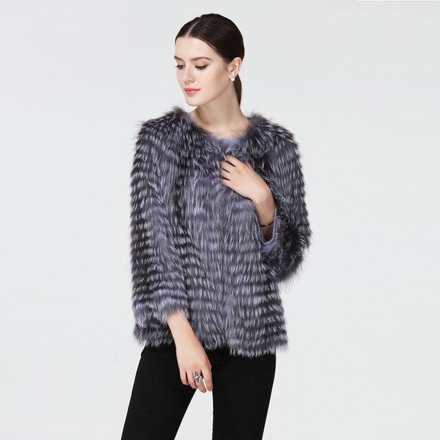 Huanhou queen silver fur fox coat women short,fashion and slim real fur jacket and coat  O-Neck nine quarter.